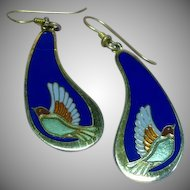 Laurel Burch Signed Dove Birds Drop Enamel Pierced Earrings