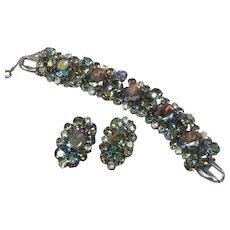 Juliana D&E DeLizza & Elster Vitrail & Purple Aurora Borealis Rhinestones Magnificent Earrings and Bracelet Set Demi Parure