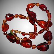 Vintage Long Faux Faceted Amber Lucite Beaded Necklace