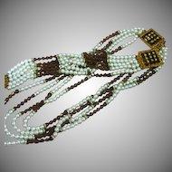HOBE Pearl Topaz Crystal Rhinestone Rondelle Necklace Bracelet Set Demi Parure