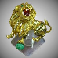 Extraordinary Gripoix Glass Hattie Carnegie Lion Unsigned Large Pin Brooch