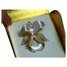 Cerrito Amazing Lavender Pink Enamel Orchid Flower Floral  Pin Brooch