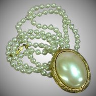 "1928 Company Mirror Locket Faux Glass Pearl Pendant 30"" Necklace"