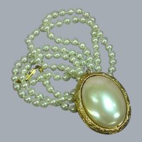 Mirror Locket Faux Glass Pearl Pendant  Necklace