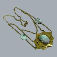 Czech Brass  Abalone Stones Layered Design Pendant Necklace