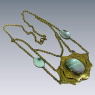 Czech Brass  Abalone Stones Layered Design Pendant Necklace