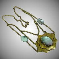 Czech Brass  w/Abalone Stones in Highly Textured Layered Design Pendant Necklace