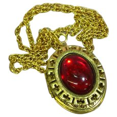 Large Locket Red Glass Cabochon  Opens Photos Pendant Necklace