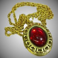 Large Locket Red Glass Cabochon Stamped Etching Opens Photos Pendant Necklace