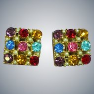 Flashy  Jewel-Tone Faceted Rhinestone Square Clip Earrings