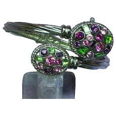 Maggie Sweet Jewel-Tone Rhinestone Clamper /Watch Cuff Bracelet