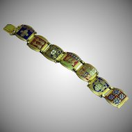 Fabulous Enamel Crest Coat of Arms Shields Link Bracelet