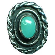 Native American Indian Hand Made Sterling Silver Sleeping Beauty Turquoise Ring Unisex