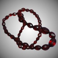 Bakelite Art Deco Faceted Cherry Amber Necklace