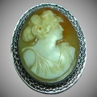 Art Deco Era 14K White Gold Goddess Shell Cameo Brooch Pin