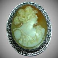 Art Deco Era 14K White Gold Goddess Shell Cameo Brooch Pin