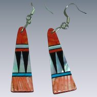 Native American Zuni Spiny Oyster Turquoise Inlay Dangle Pierced Earrings