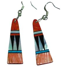 Native American Zuni Spiny Oyster Turquoise Multi Stone Inlay Dangling Pierced Earrings
