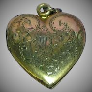 Vintage Gold Filled Heart Shaped Locket Sterling Vermeil Necklace Pendant