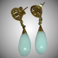 Jade 14k Yellow Gold Chinese Symbol White Jade Large Pierced Earrings