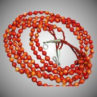 Native American Indian 3 Strand Salmon Red Coral Sterling Clasp Necklace
