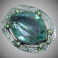 Exceptional Stunning Vintage 10k White Gold Filigree Brooch with Diamonds and Aquamarine