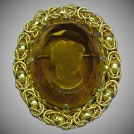 Intaglio Glass Amber Color Cameo Large Brooch Pin