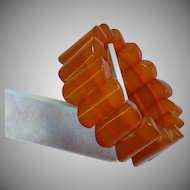 Faux Amber Lucite Stretch Bracelet