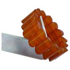 Faux Amber Lucite Stretch Bracelet