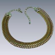 Goldtone Basket Woven Links Rhinestones Choker Collar Necklace