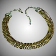 Goldtone Basket Woven Links Rhinestones Choker Collar Necklace