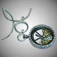 Crystal Locket Rhinestones Steam Punk Pendant Necklace