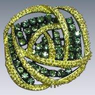 Black Diamond Rhinestone Two Section Pin Brooch