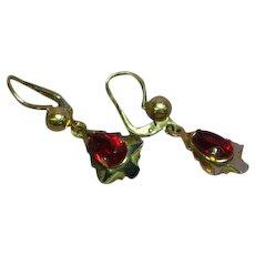 18K Yellow Gold Ruby Dangle Estate Ladies Pierced Earrings