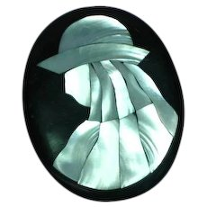Large Lady Hat Figural  Lucite Abalone Mother of Pearl Inlay Pin Brooch