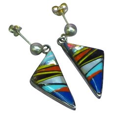 Native American Indian Zuni Signed Turquoise Coral Jet MOP Inlay Sterling Silver Dangle Pierced Earrings