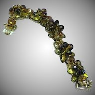 DeLizza & Elster Juliana Black & Gold Cat's Eye Rhinestone Embellished Bracelet