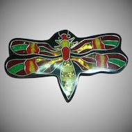 Large Black Plastic  Foil Inlay Dragonfly Pin Brooch