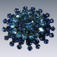 Rhinestones Electric Blue Multi Layer Dimensional Brooch Pin
