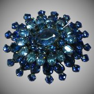 Rhinestones Electric Blue Multi Layer Dimensional Brooch Pin
