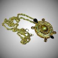 DeLizza and Elster Art Glass Rhinestone Turtle Pendant Necklace