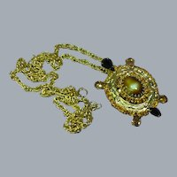 DeLizza and Elster Gorgeous Art Glass Rhinestone Turtle Pendant Necklace