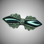 Onyx Marcasite Signed Sterling Silver Vintage Bar Pin Brooch