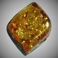 Amber Genuine Natural Vintage Sterling Silver Huge Ring From Poland