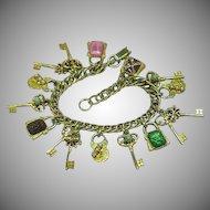Vintage Gold Plate Double Links Fun Charms Charm Bracelet