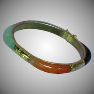Jade Encased 9K Yellow Gold Plate Bangle Bracelet