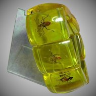 Vintage Lucite Bug Beetles Large Stretch Bracelet