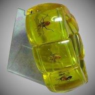 Vintage Lucite Bug Beetles Large Stretch Bracelet