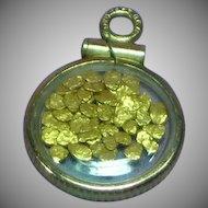 14K Yellow Gold Bezel Set 24K Raw Gold Nuggets Charm Necklace Pendant
