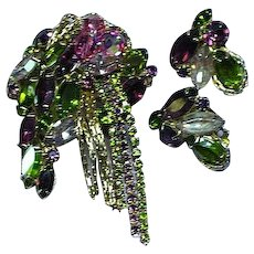 Vintage Rare  Juliana  Delizza and Elster Pin Brooch and Earrings Set  Demi Parure
